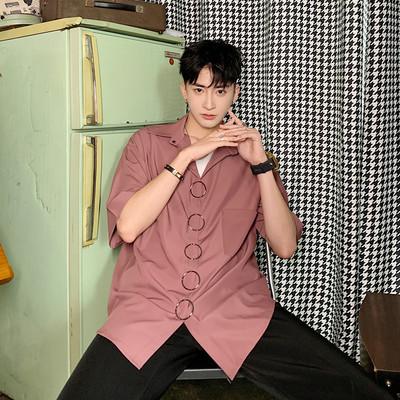 潮牌原创设计金属圆环配饰纯色衬衫男宽松个性短袖A452-1917-P58