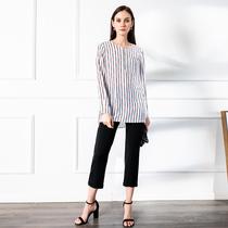 四月初九加大码女装2020夏胖MM100%真丝条纹显瘦气质衬衫