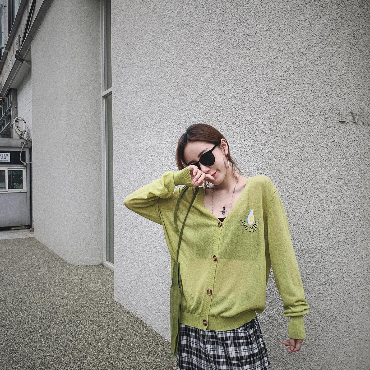 甜心家 牛油果刺绣薄款冰丝针织小开衫 宽松透气防晒外套女装夏季