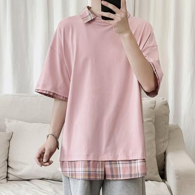 19夏装港风宽松大码新款男士假两件短袖衬衫领T恤 KK263 P45