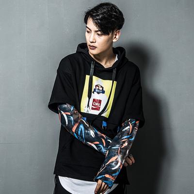 欧美高街男士韩版宽松个性假两件迷彩拼接长袖卫衣DJ628-WY09-P95