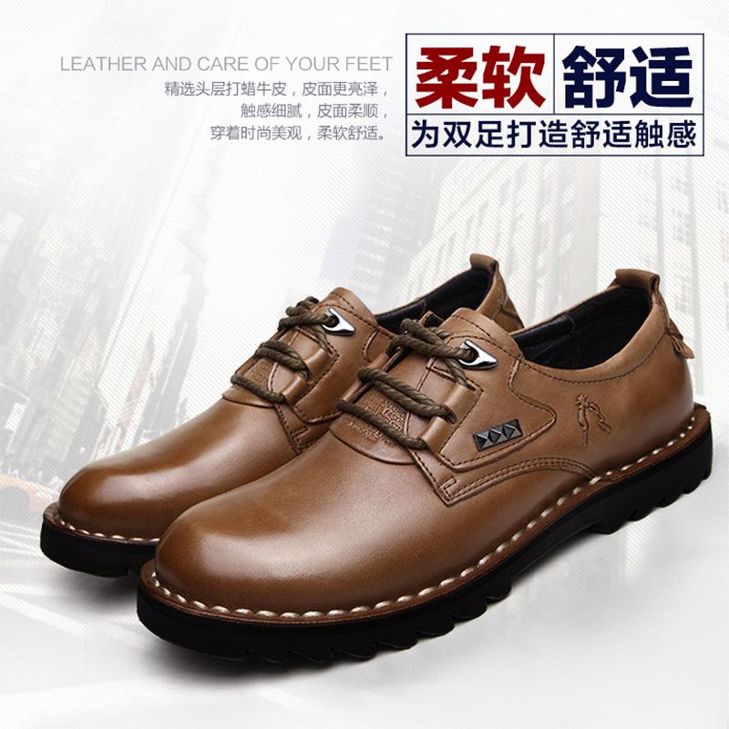 男真皮休闲皮鞋圆头系带大头工装鞋man shoes men boys fashion