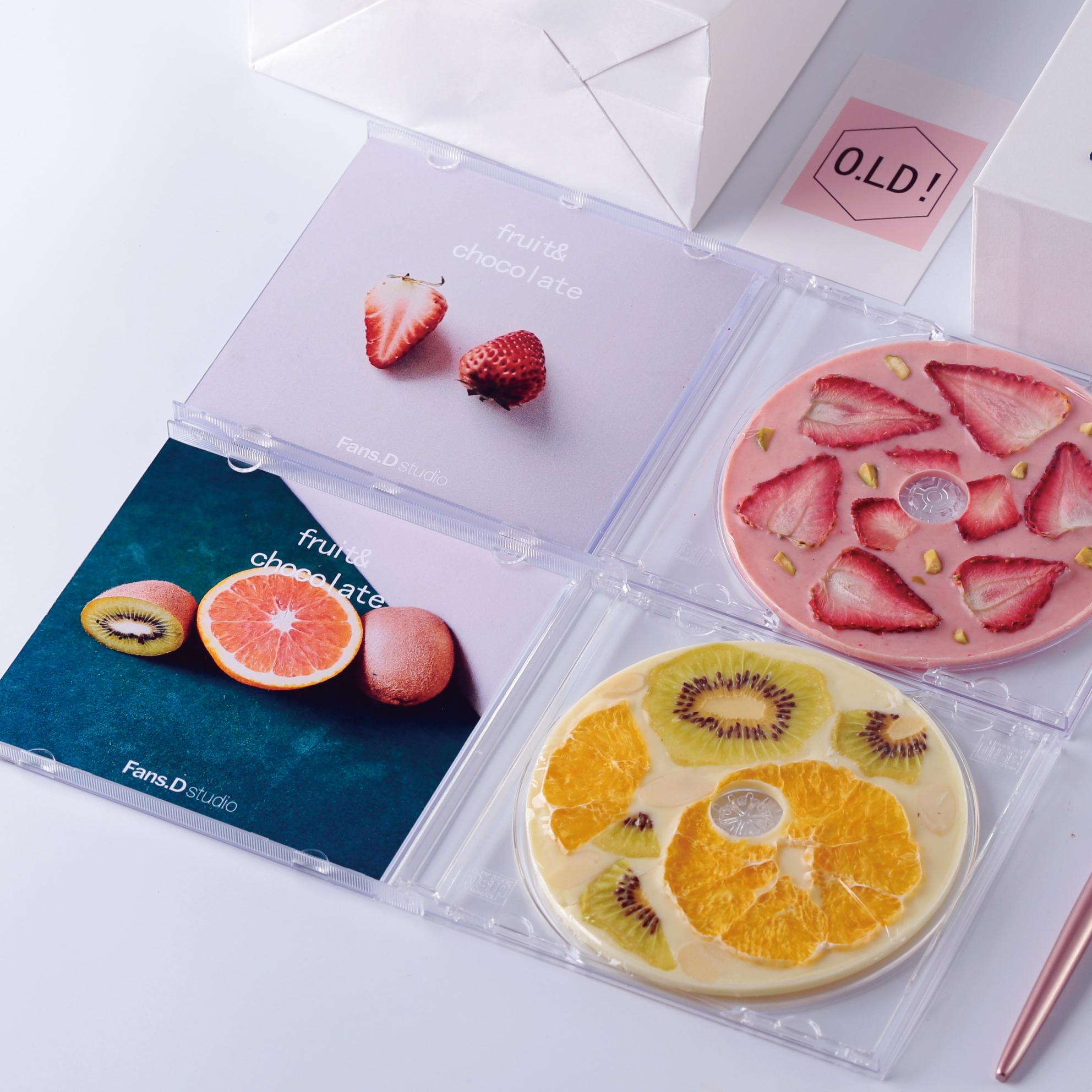 草莓水果光盘唱片cd巧克力DIY网红零食送女友闺蜜生日礼物品