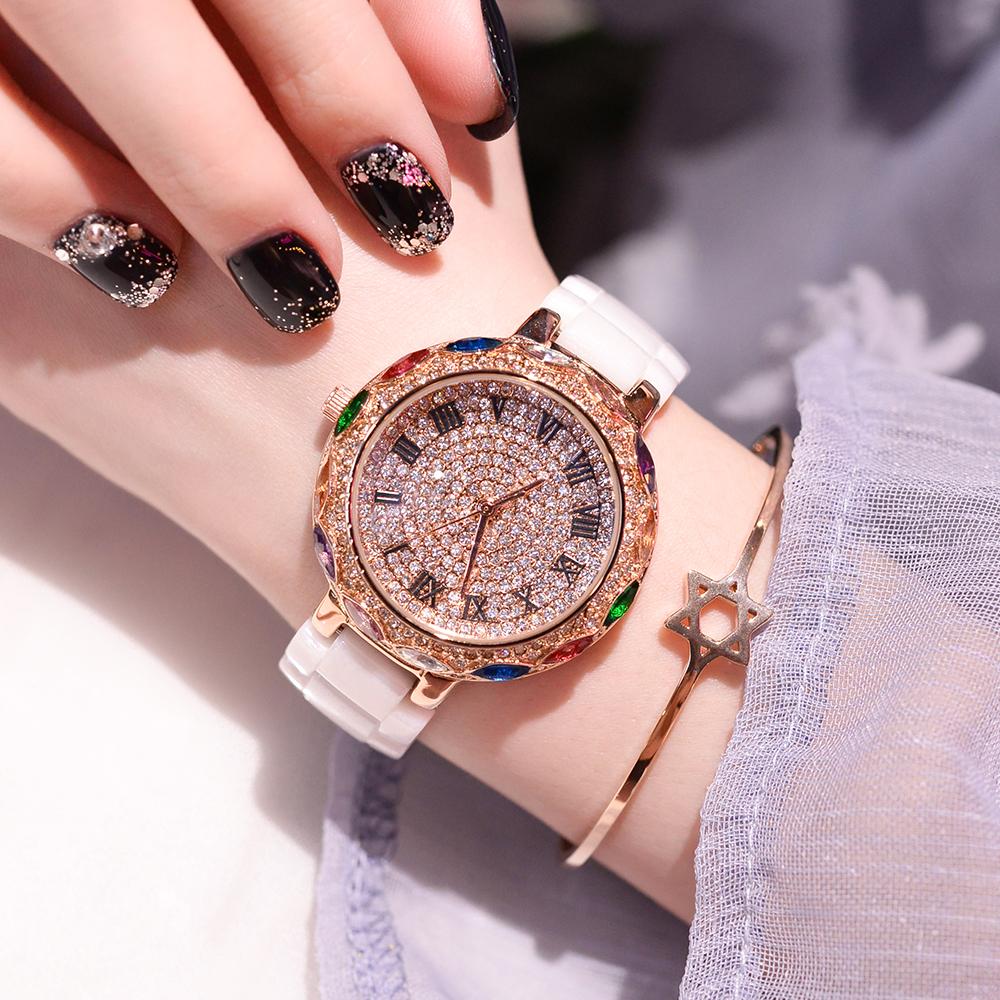 新款玛莎莉时尚水钻表超仙满天星手表女士陶瓷石英表防水腕表2018