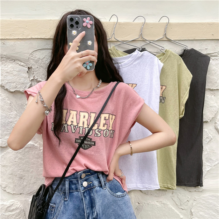 2021 summer new Korean fashion casual letter pattern sleeveless T-shirt tank top round neck simple outerwear womens top
