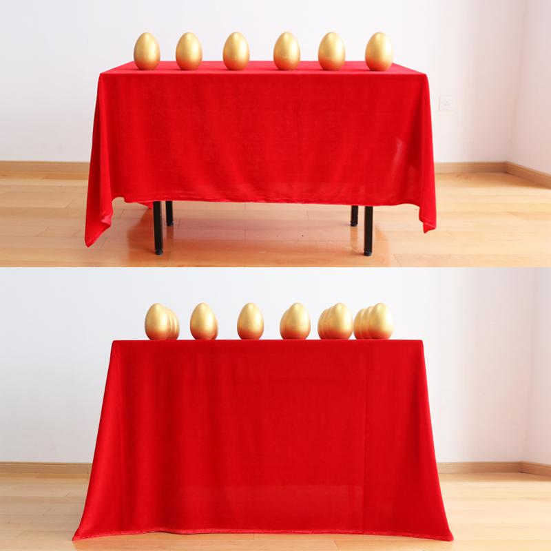 定制活动红桌布砸金蛋桌布红绒布金丝绒台布大红色桌布红布绒面布