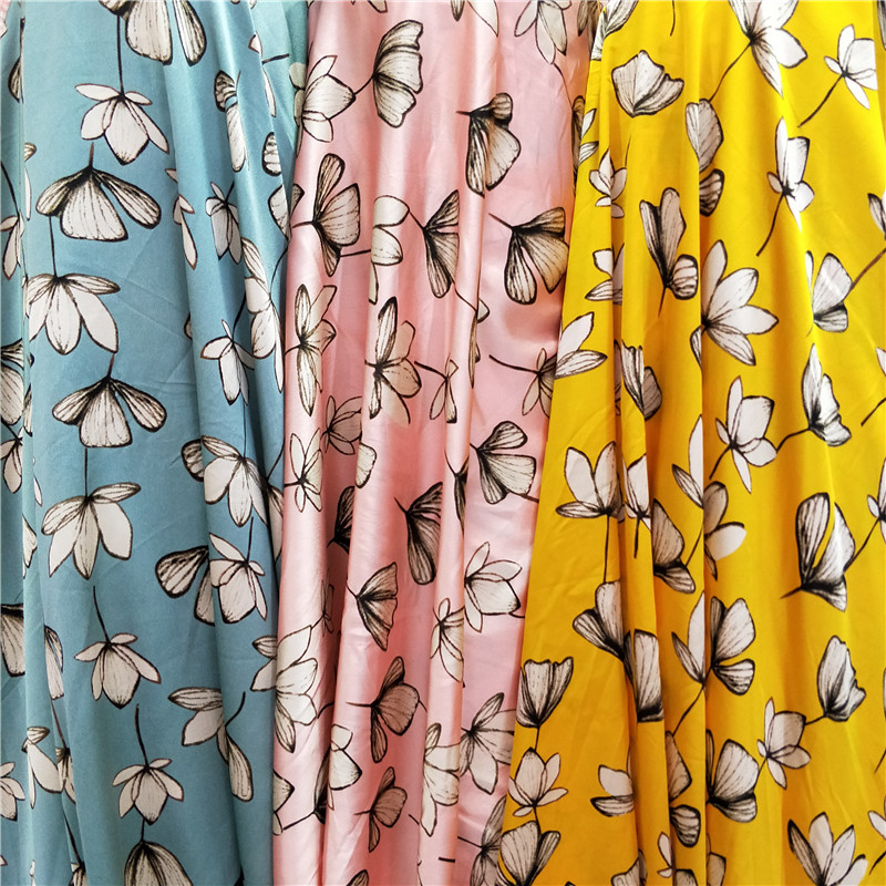 New gingko leaf printed silk like fabric shorts square shirt dress opaque Satin broken leaf fabric