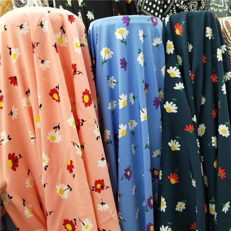 Package mail impervious fresh floral printed fabric shirt cheongsam parent child wide leg skirt pants dress fabric