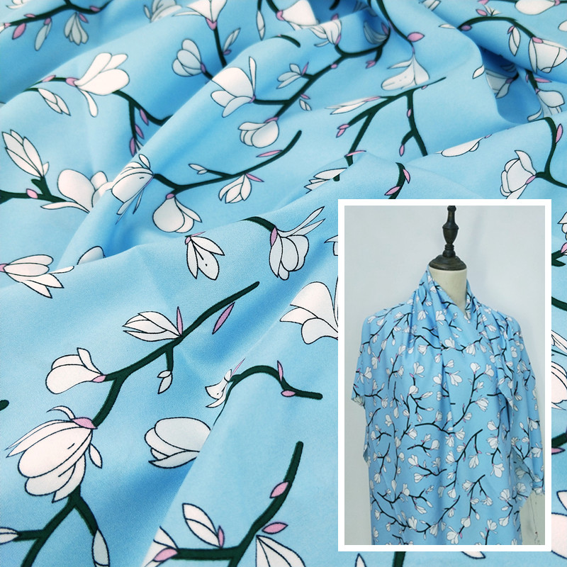 Popular branch and leaf flower printing impervious four sides elastic fabric dress top and trousers hang smoothly soft fabric half meter price