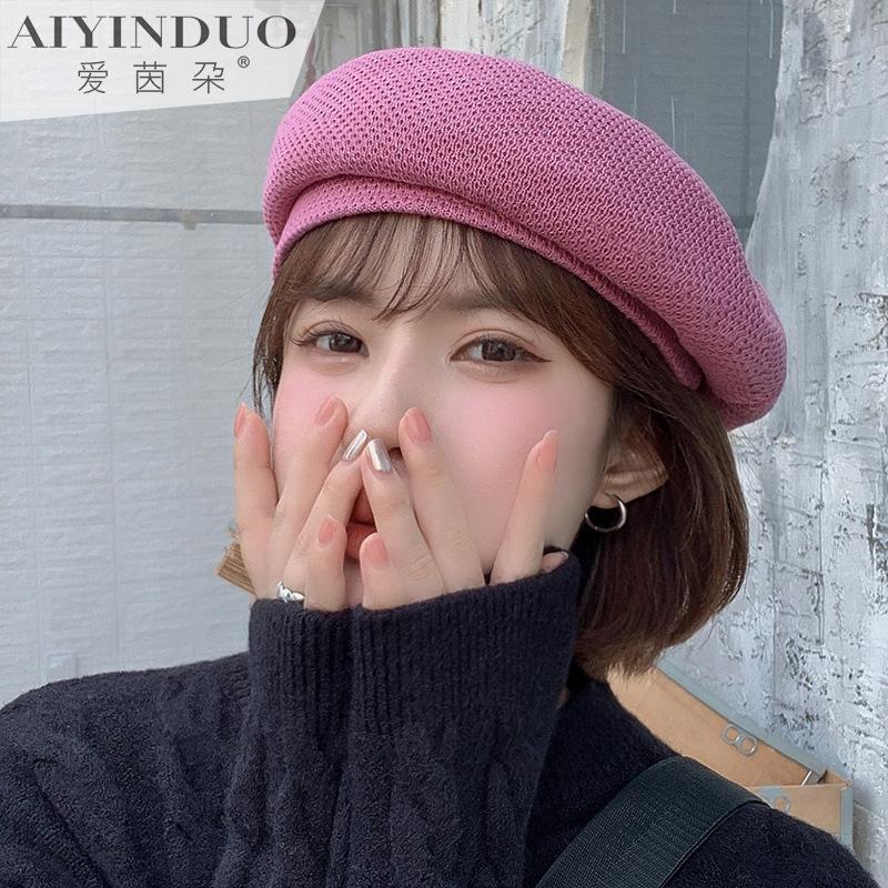 秋冬新款女式帽子纯色刺绣蝴蝶结贝雷帽休闲百搭潮流文艺风画家帽