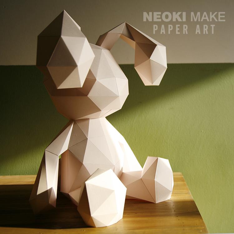 時尚創意手工diy紙模材料3D立體動物小兔子桌面擺件燈罩紙藝禮品