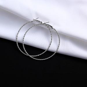 S925银针韩国超细方块花纹大圈圈耳环圆环耳圈