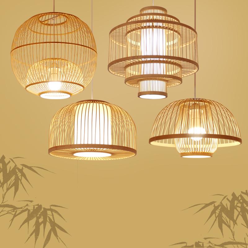 中式竹编竹艺术吊灯创意个性日式酒店茶楼餐厅饭店工程鸟笼吊灯具