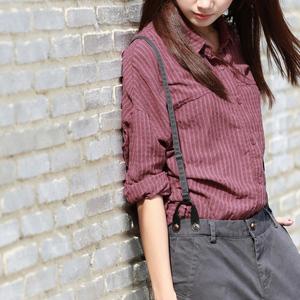 谷家 新款文艺复古女装条纹衬衣 大码宽松休闲棉麻长袖衬衫