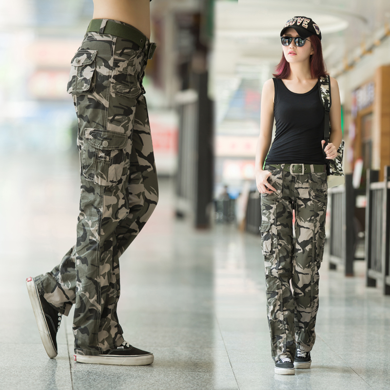 Military fans clothing outdoor casual pants womens spring camouflage straight pants military pants Multi Pocket mountaineering Pants Navy dance pants