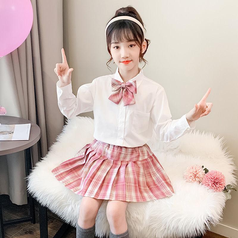 女童jk制服套装格裙2021新款春秋装女孩校服儿童日系学院风百褶裙
