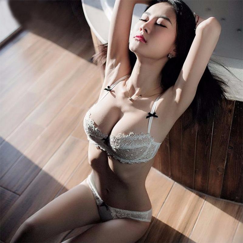 法式性感超薄蕾丝文胸薄款透明半杯内衣套装网纱无海绵胸罩夏季女