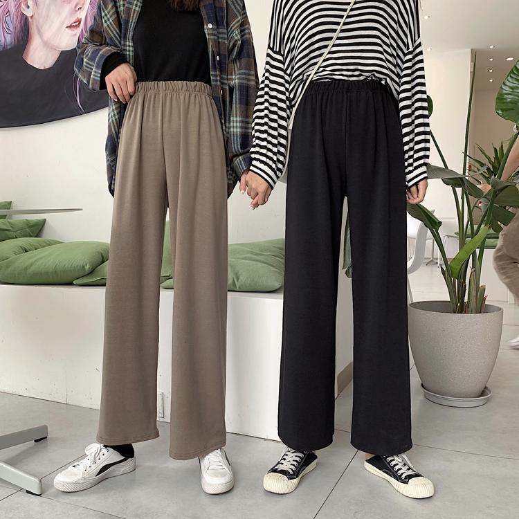 实价实拍新款韩版宽松针织长裤垂坠感阔腿裤松紧高腰