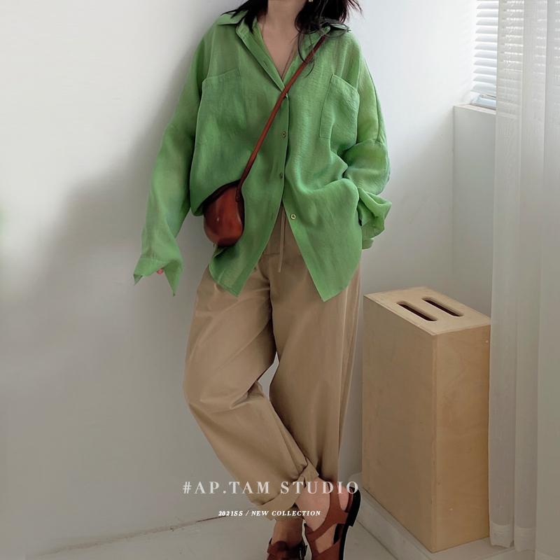 谭烟米 表面有迷人的微微幻光感 玉壳绿轻薄宽松长袖衬衫上衣