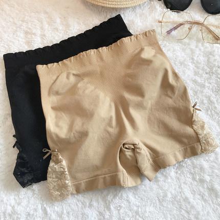 防走光安全裤棉质女夏季薄蕾丝边收腹提臀无痕蕾丝边安全裤