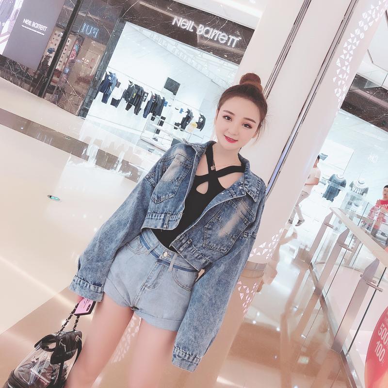 娃娃家潮流女装2018夏季新款 韩版短款后背扣子牛仔衫短外套W703