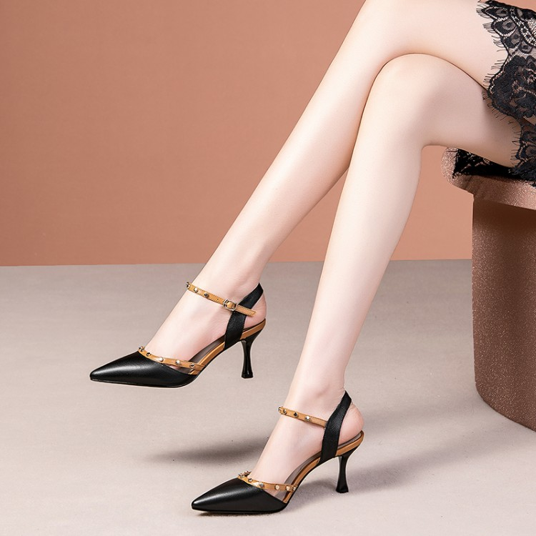 One word leather sandals womens summer 2020 new fashion womens shoes thin heel pointed sexy rivet high heels Korean version