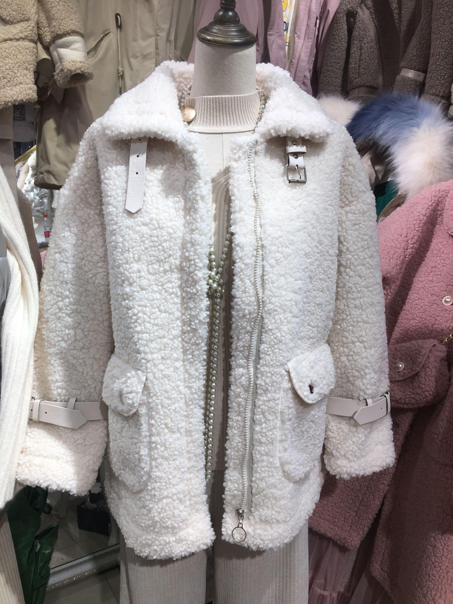 florarist 新款2020春小清新羊羔毛皮毛一体机车衣领女装外套