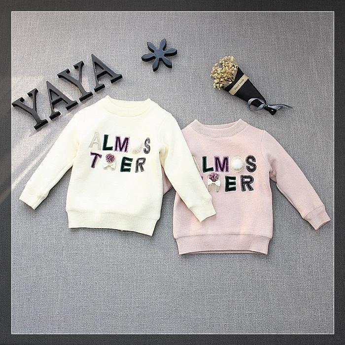 Царство хань все фрукты 2017 зимнюю одежду нового модель девочки письмо вышивка ребенок плюс ворсинки одежда ребенок свитер 3515