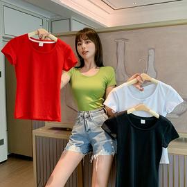 短袖t恤女2020年新款紧身打底衫纯棉夏装修身短款上衣体桖潮图片
