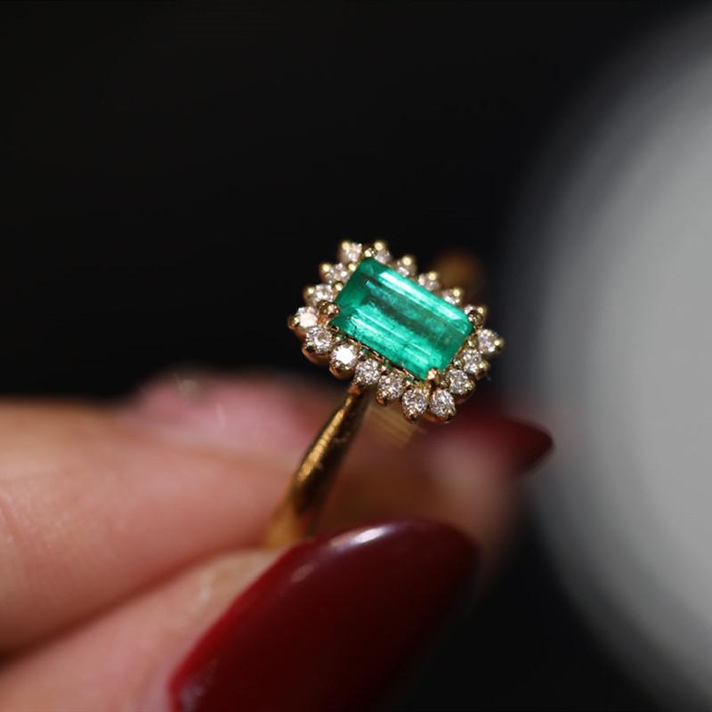 日本珠宝成品18K黄金钻石镶嵌天然方形祖母绿精致复古时尚戒指