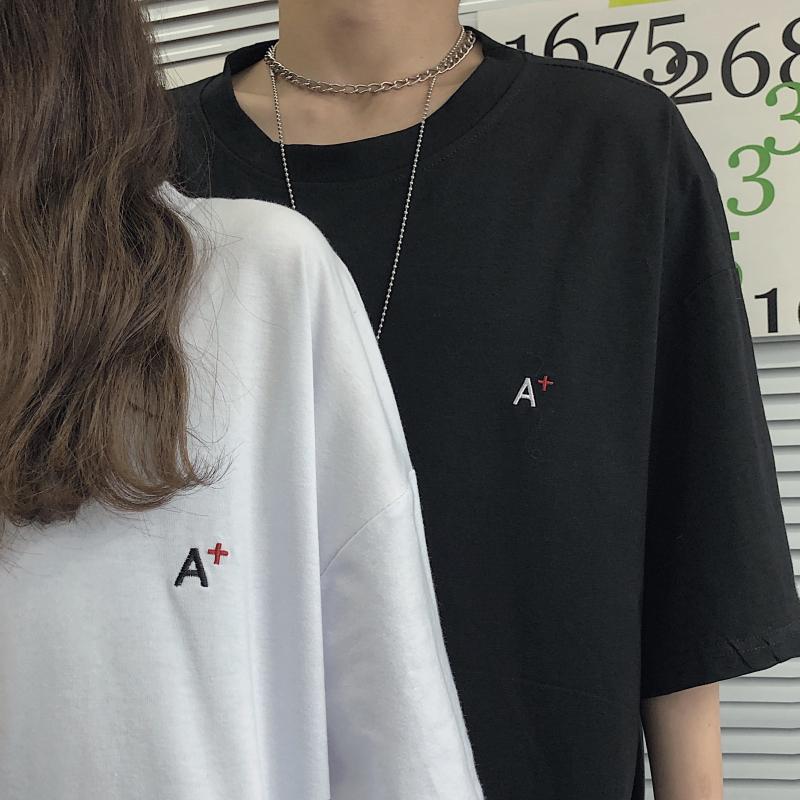 现货 韩国ins宽松小字母刺绣宽松百搭情侣短袖T恤bf男女生1999P30