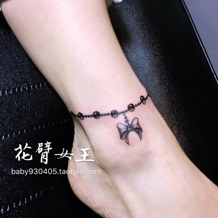 热销28件需要用券花臂少女TATTOO X119  黑白蝴蝶结脚链软妹纹身贴一张3个