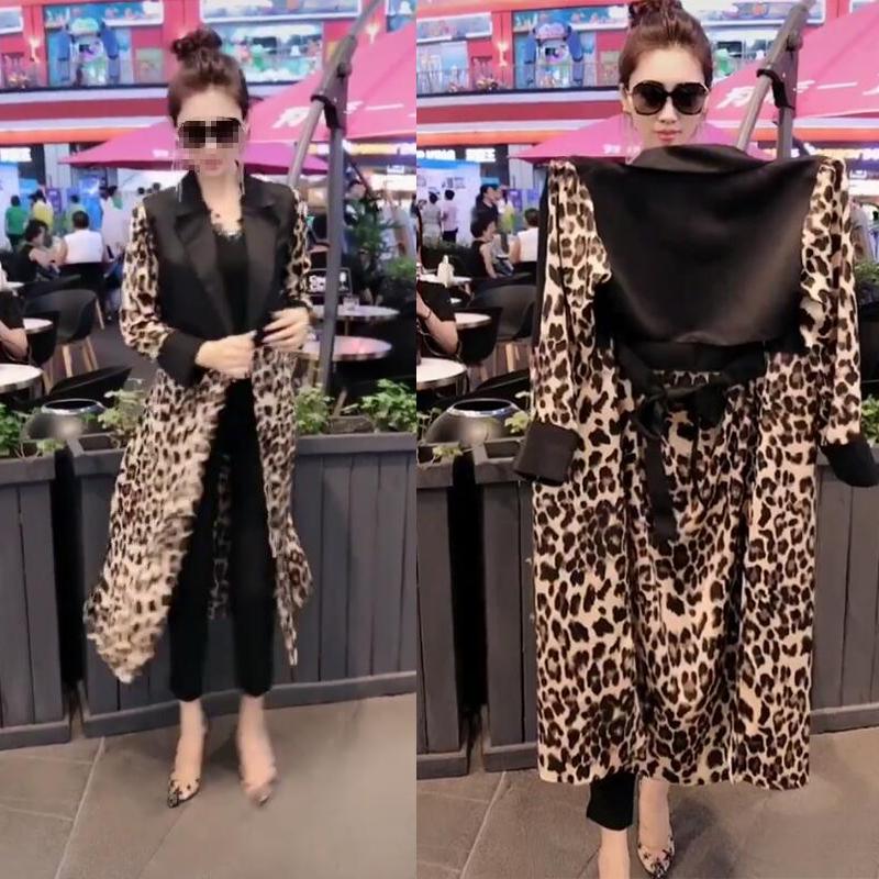 抖音同款外套时新款豹纹拼接翻领气质型收腰长袖休闲风衣女人味秋