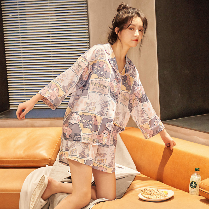 21 pajamas female summer ice silk short sleeve thin cartoon students 7-sleeve household clothes lovely summer two piece suit