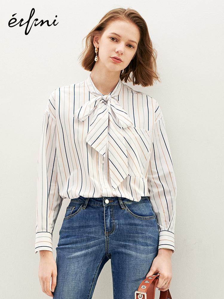 伊芙丽洋气设计感衬衣2019夏装新款职业衬衣条纹短袖衬衫女
