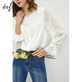 何穗同款衬衫女伊芙丽2019新款秋装设计感上衣韩版白色雪纺衬衣女
