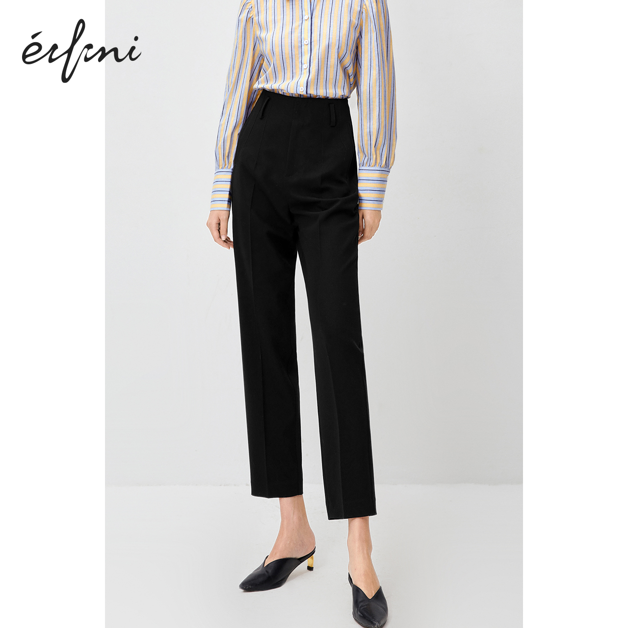 Eveli casual pants women's spring and autumn 2020 black thin pants are thin and versatile high-waist straight-leg suit pants
