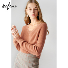 Evelyn Knitted Woman 2011 New Autumn Dress Loose Hollow-out Stitching V-collar Sleeve Lazy Windsweater Woman