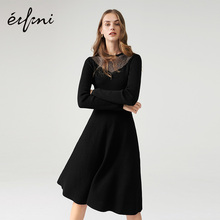 Evelyn Skirt Children New Autumn Dress 2019 Black High waist Received waist lace Stitching Autumn Knitted Dresses