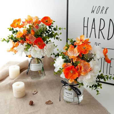仿真鲜活艳亮靓丽桔橘红白牡丹虞美人INS透明花瓶客餐厅桌面花艺