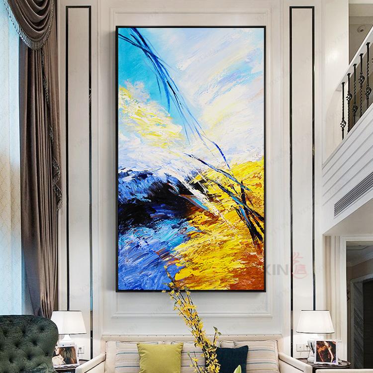 現代簡約家居客廳玄關裝飾畫酒店走廊掛畫原創油畫純手繪抽象畫