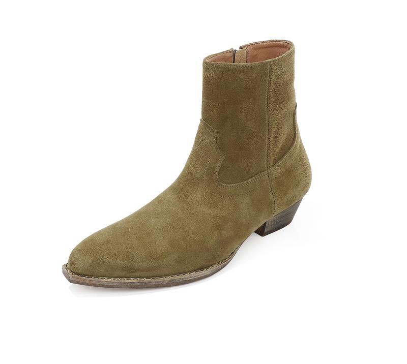 欧美秋冬新款男鞋切尔西靴男厚底中跟短靴方头马丁靴木根增高男鞋