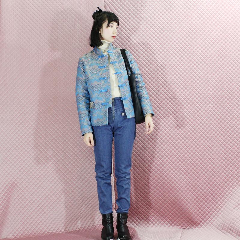伊甸中国风女中式唐装薄棉长袖外套秋冬装锦缎旗袍蓝色气质少女