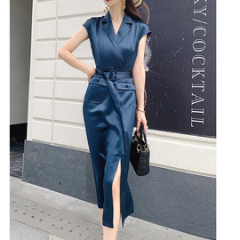 欧美高端大牌女装醋酸缎面西装领修身侧开叉时尚洋气连衣裙夏长裙