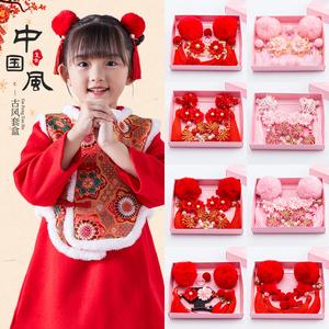 中国风新年儿童发饰女童红毛球流苏唐装古风汉服发夹宝宝过年头饰