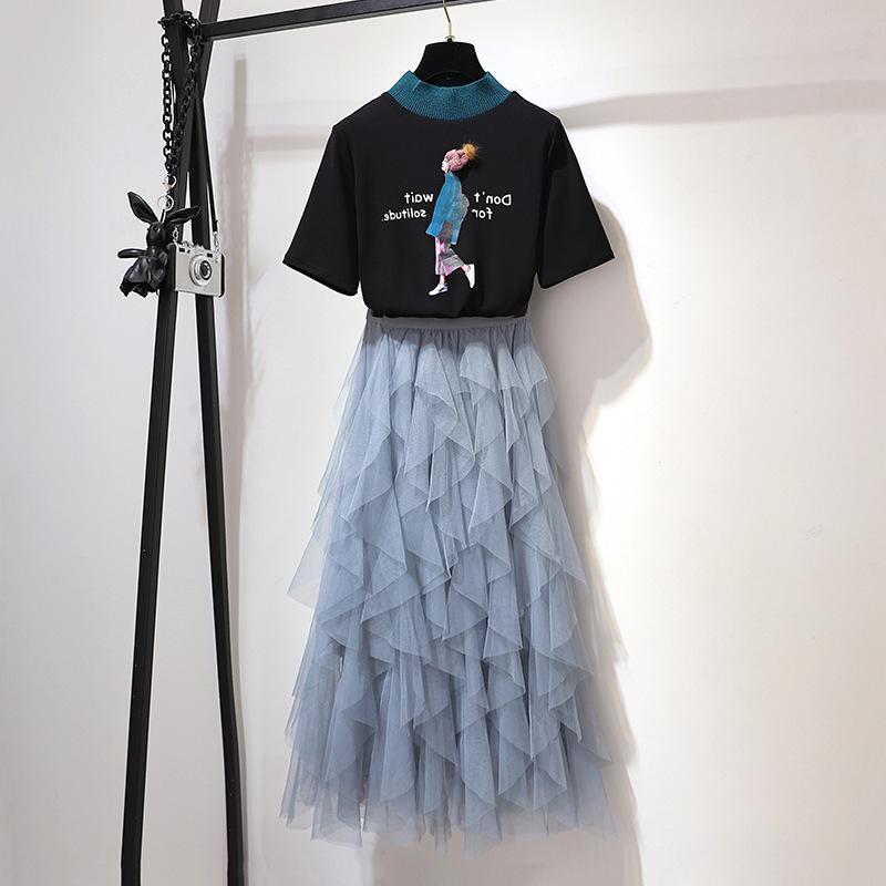 很仙连衣裙套装春夏装港味潮女神时尚慵懒风T恤洋气网纱裙两件套