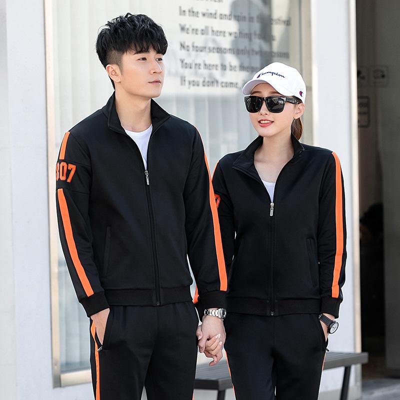 2019年春季新款时尚休闲情侣运动套装上衣长裤两件套百搭舒适潮流