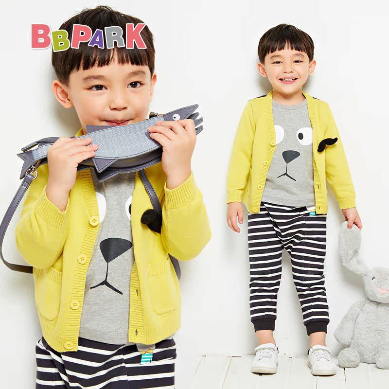 貝貝帕克男童兒童v領毛衣