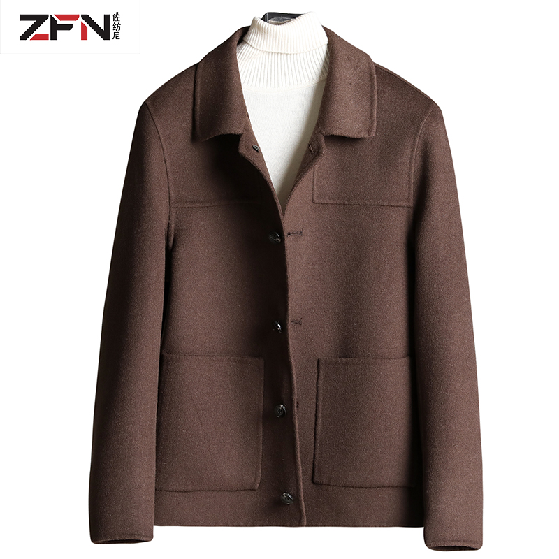 Woolen coat mens short jacket down liner British style thickened woolen cloth coat double sided cashmere coat
