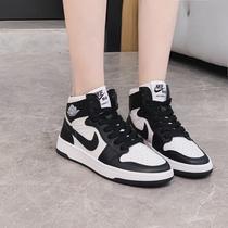 新款aj女鞋高帮鞋黑白熊猫球鞋缓震白绿早秋运动休闲鞋韩版板鞋潮